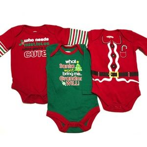 Christmas Onesie Lot 0-3 Months